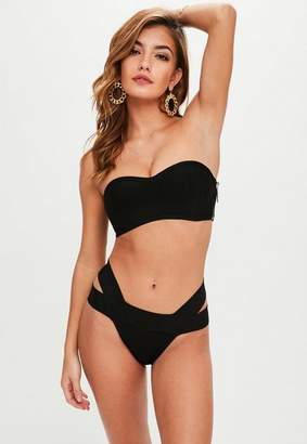 Missguided Black Bandage Bandeau Bralette Bikini Top