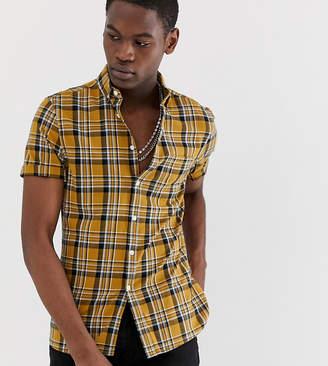 Asos Design DESIGN Tall slim fit check shirt in mustard
