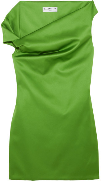 Balenciaga  Balenciaga - Asymmetric Satin Mini Dress - Green