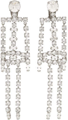 ALEXACHUNG Silver Diamante Skeleton Earrings