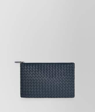 Bottega Veneta Medium Document Case In Denim Intrecciato Nappa Leather