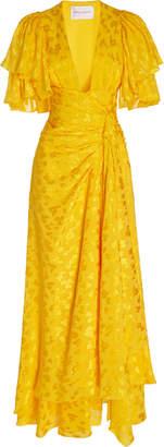 Carolina Herrera Ruffled Leopard-Print Devore Gown