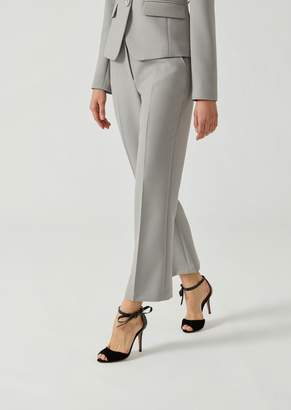 Emporio Armani Flared Double Canvas Trousers