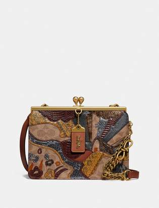 Coach Double Frame Bag In Signature Canvas With Starscape Patchwork And Snakeskin Detail