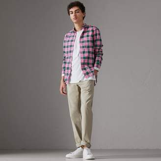 Burberry Check Cotton Shirt , Size: L, Pink