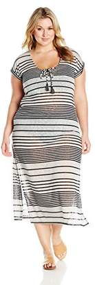Coastal Blue Women's Plus Size Swimwear Woven Maxi Cover up with Cotton Tassels