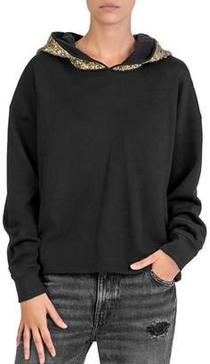 The Kooples Sequin-Hood Fleece Sweatshirt