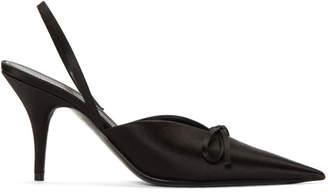 Balenciaga Black Satin Slingback Heels