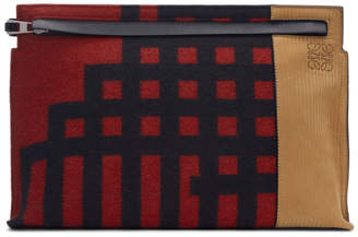 Loewe Red and Black Grid T Pouch