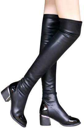 a6c4f60e10e BOLUOYI Sexy Boots for Women Fashion Leather Over Knee Boots Women Toe  Elastic Stretch Thick Heel