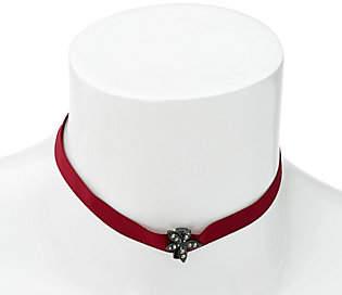 BaubleBar Pave Leaf Design Ribbon ChokerNecklace