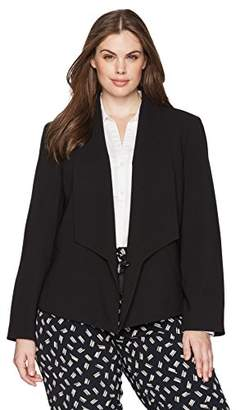 Nine West Women's Plus Size Solid Crepe Jacket with Shawl Collar