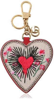 Gucci Embroidered Heart Gg Supreme Key Holder