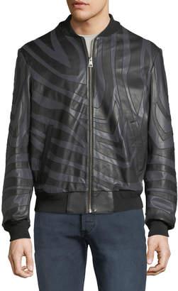 Just Cavalli Men's Tiger-Striped Leather Bomber Jacket