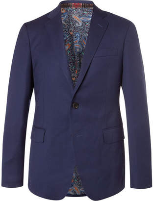 Etro Dark-Blue Slim-Fit Textured-Wool Blazer