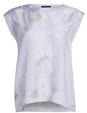 Eileen Fisher Women's Shibori Sky Silk Abstract Top