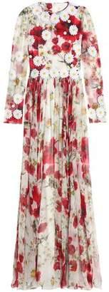 Dolce & Gabbana Floral-Appliquéd Printed Silk-Chiffon Gown