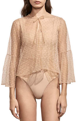 Amaio Swim Isabele Embroidered Sheer Coverup Top