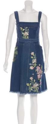 Alexander McQueen Embroidered Denim Dress w/ Tags blue Embroidered Denim Dress w/ Tags