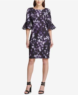 DKNY Printed Bell-Sleeve Sheath Dress