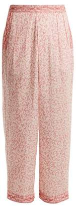 Masscob Wide Leg Paisley Print Cotton Trousers - Womens - Pink White