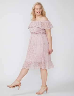 Fast Lane Off-the-Shoulder Ruffle Lace Dress