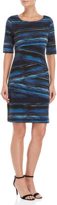 Connected Apparel Printed Asymmetrical Tiered Sheath Dress