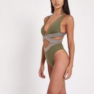 River Island Khaki metallic elastic plunge swimsuit