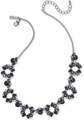 "INC International Concepts I.n.c. Silver-Tone Black Crystal Collar Necklace, 18"" + 3"" extender"