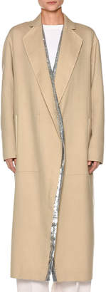 Agnona Century Cashmere Coat w/Sequined Panel Lining