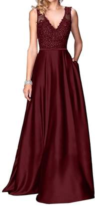 Little Star Women's Elegant Navy Blue Prom Dresses 2018 Long Spaghetti Straps Satin Evening Party Dress A Line Ball Gown with Pockets