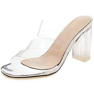 a4a1b01f3c4 clear Vimisaoi Women s Transparent Strap Chunky High Heels Slide Sandals