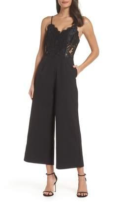 NSR Josephine Wide Leg Crop Lace Jumpsuit