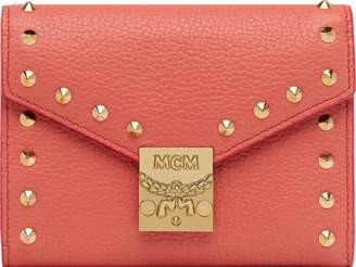 MCM Patricia Three Fold Wallet In Studded Outline Leat