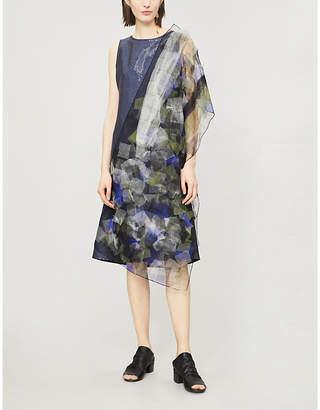 QUETSCHE Geometric-pattern sleeveless tulle dress
