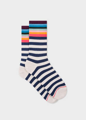 Paul Smith Women's Cream Striped Socks with 'Artist Stripe' Cuff