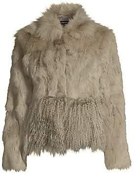Adrienne Landau Women's Cropped Fox, Rabbit& Lamb Fur Jacket