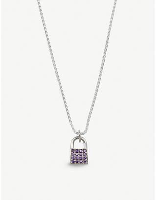 HATTON LABS Crystal-embellished sterling silver padlock necklace