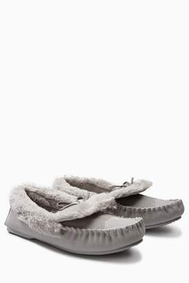 a58db798c56b Next Womens Grey Premium Suede Moccasin Slippers