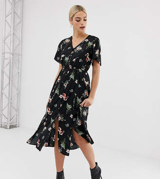 Missguided Tall button through midi dress in black floral