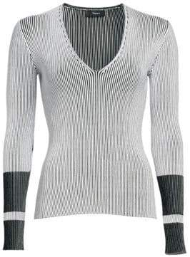 Theory Optic Stripe V-Neck Sweater