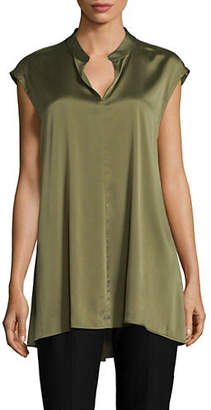 Eileen Fisher Cap-Sleeve Stretch-Silk Top