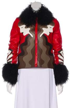 Holly Fulton Shearling-Trimmed Leather Jacket