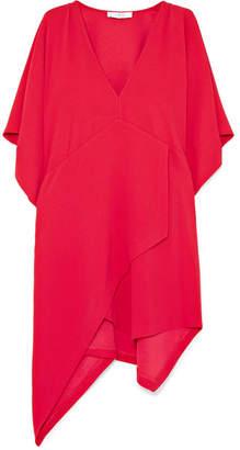 IRO Ekima Asymmetric Draped Crepe Mini Dress - Red