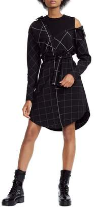 Maje Windowpane Plaid Shirtdress