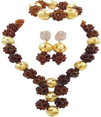laanc Women's Fashion Necklace Bracelet Earring 1 Layer 6mm Crystal Bead and Golden Plated Ball Wedding Jewellery Sets