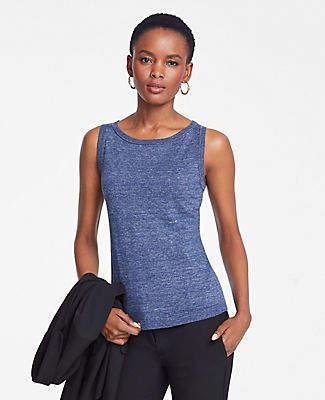 Ann Taylor Heathered Linen Blend Sweater Shell