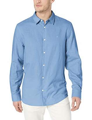 775a36128b70 Calvin Klein Men's Long Sleeve Lightweight Cotton Linen Button Down Shirt