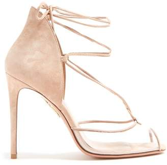 Aquazzura Magic 105 Suede Sandals - Womens - Nude