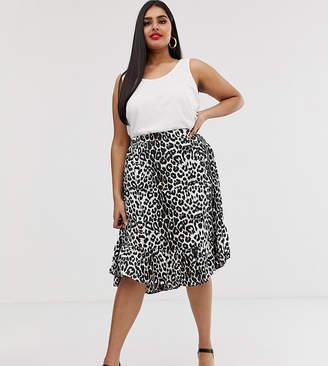 7aeaad2534 AX Paris Plus leopard print drop hem skirt